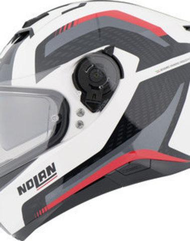 Nolan N87 Integraalhelm Arkad N-Com Wit/Rood/Zwart